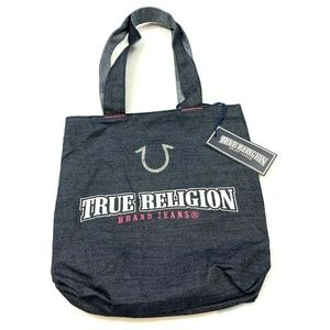 True Religion Embellished Denim Tote Handbag